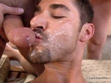 Nasty gay men in a hot muscle gay threesome action.
